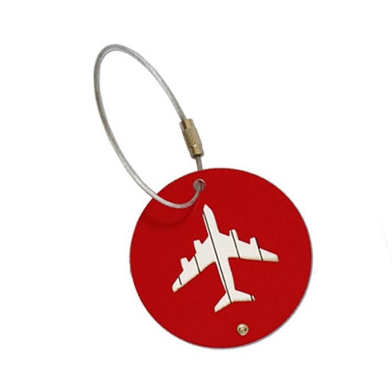 Red New Luggage Tag Travel Accessories Aircraft Round Shape Portable Secure Travel Suitcase Label Best Love