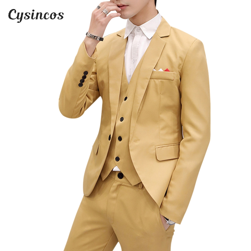 CYSINCOS Men Slim Fit Social Blazer Spring Autumn Fashion Solid Wedding Dress Coat Casual Plus Size Business Male Suit Jacket