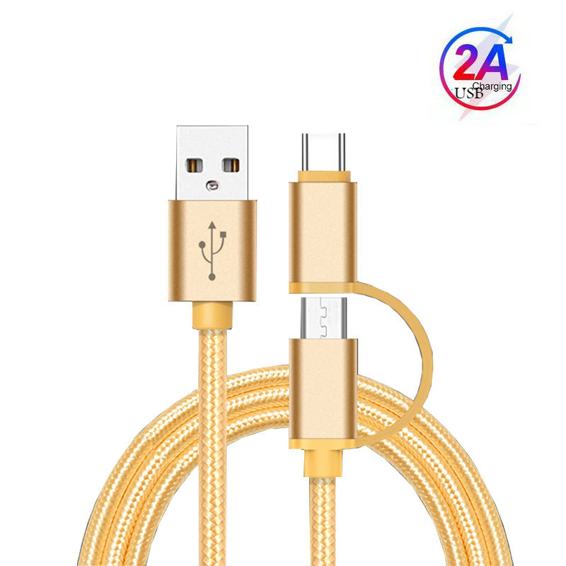 2 в 1 USB-кабель Тип C Micro USB кабель для быстрой зарядки многофункциональный USB C нейлоновая оплетка для Samsung 9 Android мобильный телефон кабели