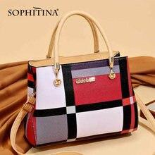 Sophitina Модные Сумки из натуральной кожи Женская обувь в полоску
