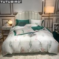 Newest Luxury Egyptian cotton bedding set bedlinen coral seaplant print pastoral duvet cover bedspread queen king size bed set