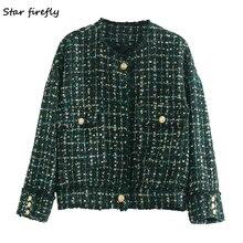 Star firefly fashion Za coat women 2020 spring casual slim-breasted tweed pocket