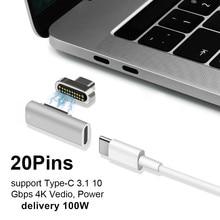 Support haute vitesse 100W adaptateur magnétique USB type C pour Pro 20 broches USB type C connecteur de Charge pour Pixelbook/Matebook