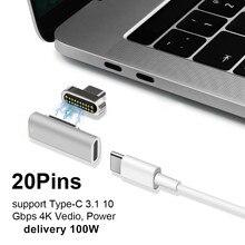 Магнитный адаптер USB Type C, поддержка высокоскоростной зарядки 100 Вт для Pro 20 pin USB Type C, разъем для Pixelbook/Matebook