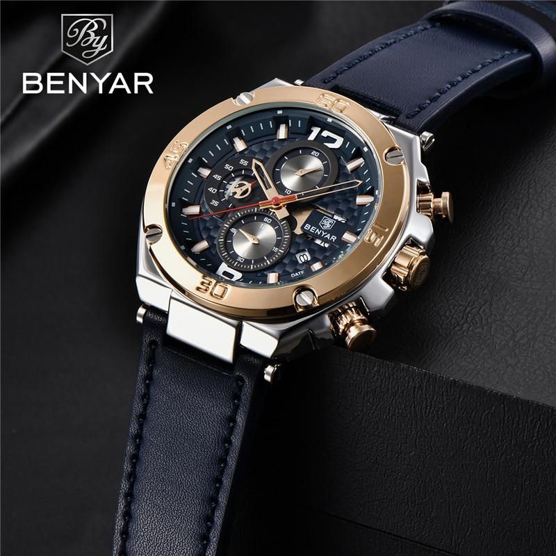 Men's Watches BENYAR New Quartz Men Wrist Watch Top Luxury Fashion Clock Man Waterproof Leather Chronograph Relogio Masculino