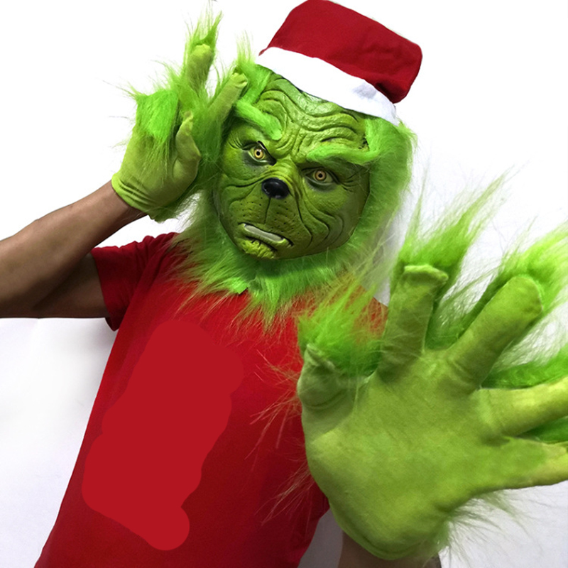 Funny Grinch Stole Christmas Latex Mask XMAS Cosplay Costume Party Mask Grinch Face Carnival Mask Gloves