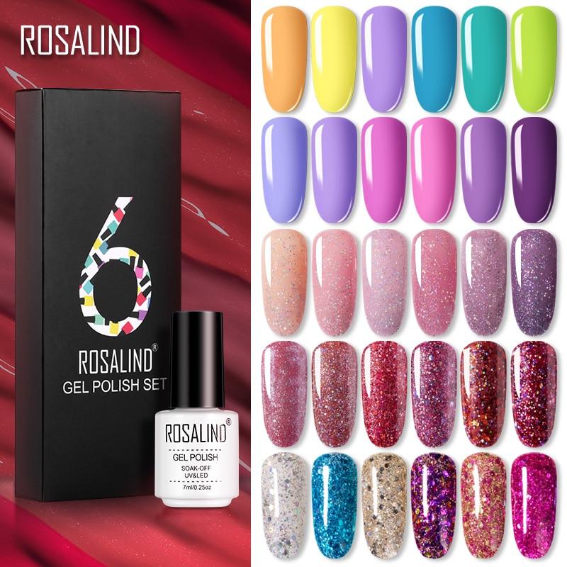 ROSALIND Gel Nail Polish Set 14 Color Series UV Lacquer Varnish Nail Set For Art Desgin Manicure Top And Base