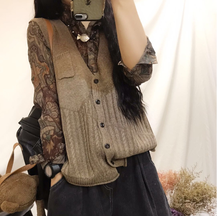 Women Spring Autumn Sleeveless Knitted Tops Ladies Knitwear V Neck Vest Female Fall 2019 Knit Cardigans Jacket
