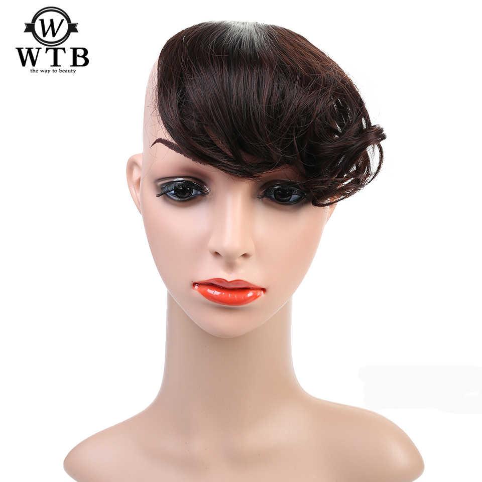 WTB WIG bangs fałszywe krótkie płaskie grzywki dwa boczny zacisk na kręcone grzywki czarne frędzle przedłużanie włosów syntetyczne klipsy we włosach