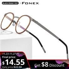 FONEX Acetate Alloy Glasses Frame Men Women Vintage Round Myopia Optical Frames Prescription Eyeglasses Screwless Eyewear 98625