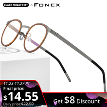 FONEX Montura de aleación para gafas de acetato para hombre y mujer, montura de aleación para miopía redonda Vintage, gafas de prescripción sin tornillos, 98625