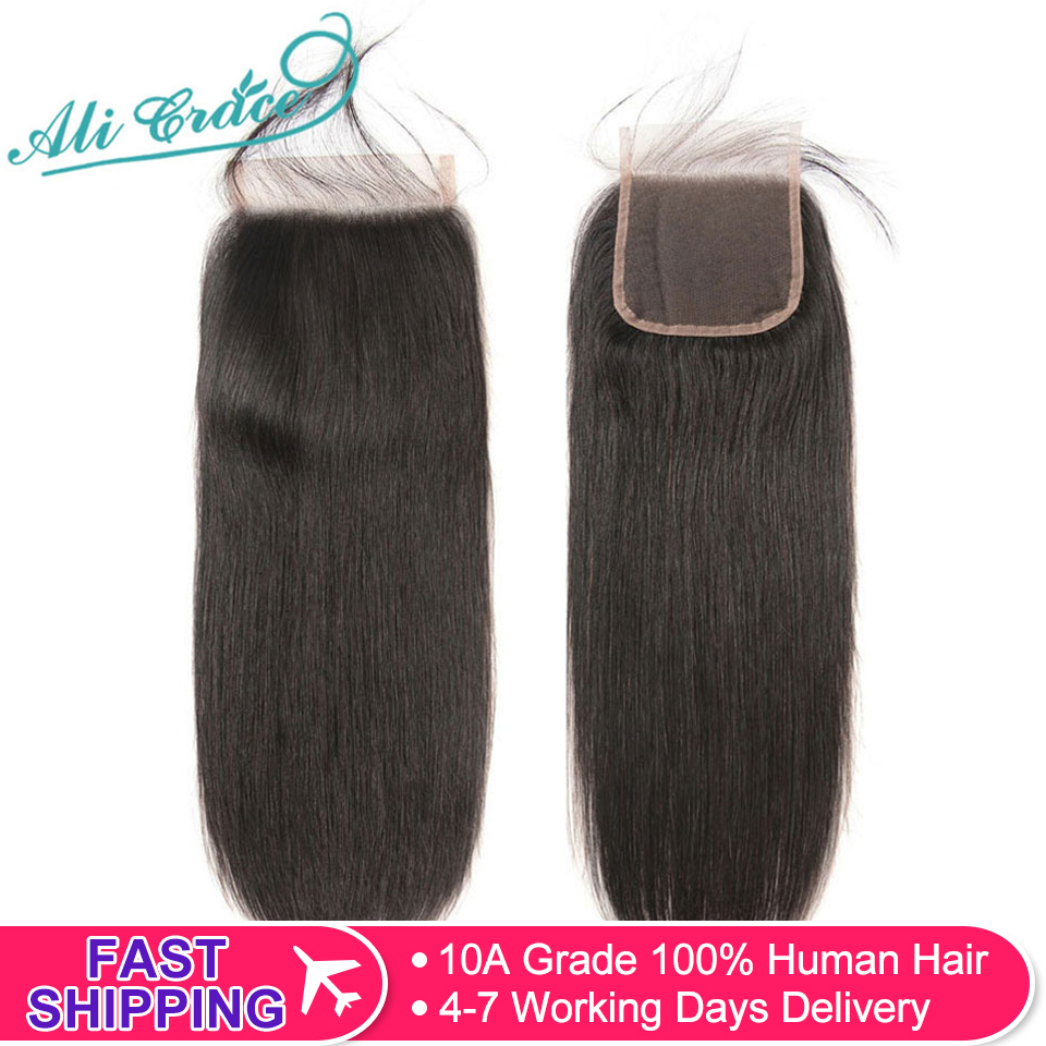 Lace Closure Human-Hair Ali-Grace Brown Color Straight Brazilian 5x5 with Medium 6x6 title=