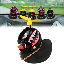 Society Lovely Helmet Small Yellow Duck Car Ornament Car Accessories Interior Decoration Car Dashboard Toys Cycling Decoration