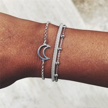 3pcs/set Minimalist Silver Color Small Beads Link Chain Bracelets for Women Friendship Love Moon Charm Bangles Jewelry
