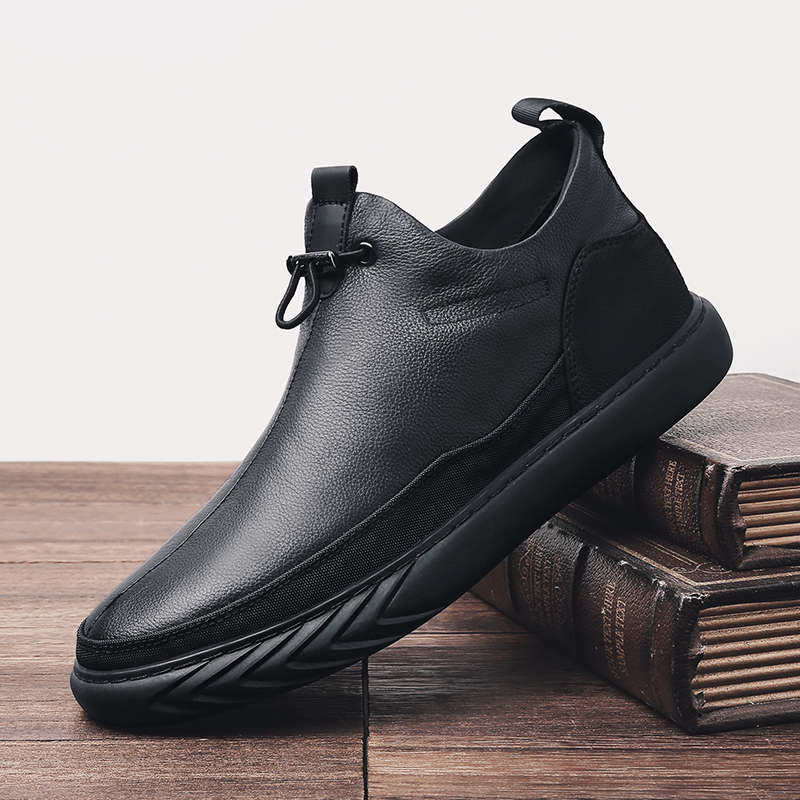 KATESEN New Men Ankle Boots Genuine Leather Man Casual Boots Cow Leather Winter With Fur Warm Male Shoes Black Chelsea Boots