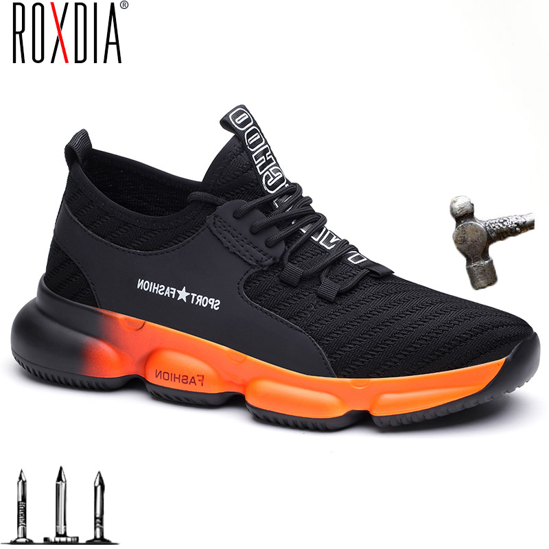 ROXDIA Fashion men safety shoes women work sneakers steel toe cap breathable outdoor shoe plus size 36-48 new brand RXM631