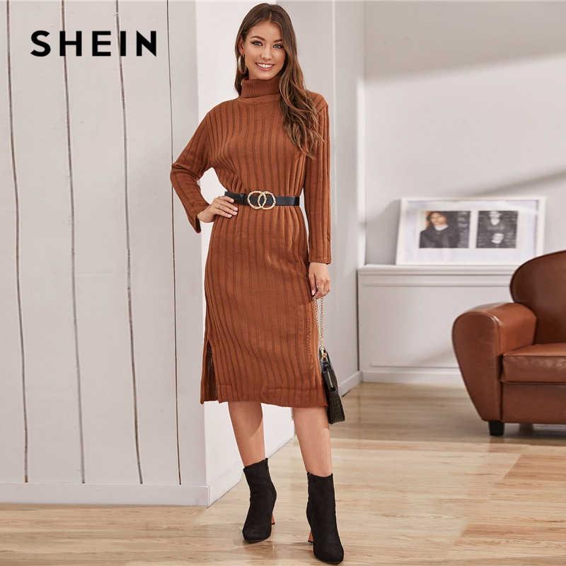 SHEIN huni boyun katı nervürlü örgü kazak elbise olmadan kemer kadın kış uzun kollu bayan bölünmüş Hem Midi Casual elbiseler