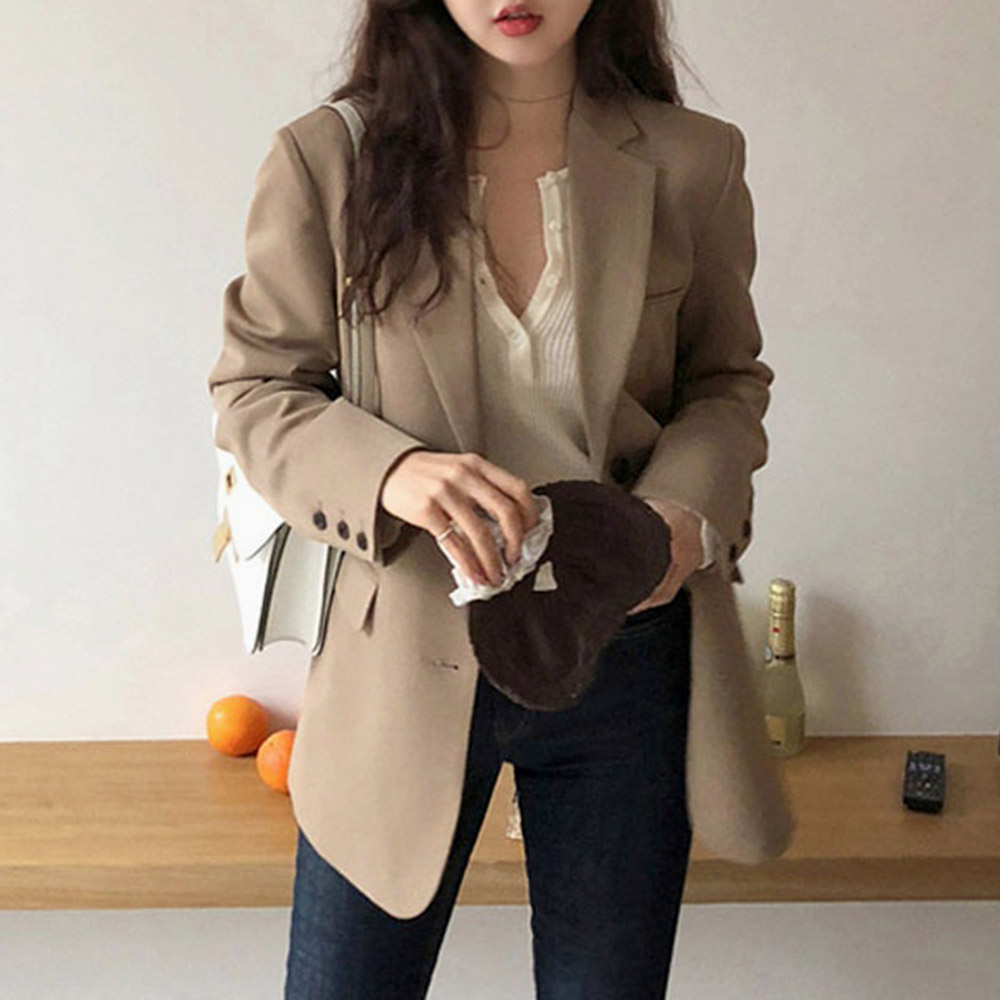 Korean Style Casual Blazer Women Elegant Loose Casual Solid Business Blazer Long Blazers Loose Jacket Ladies Spring Autumn Suit