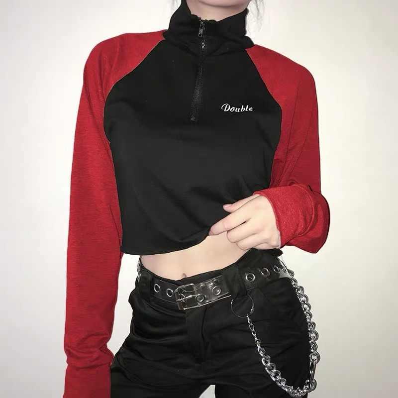 Nieuwe Vrouwen Kostuum Jazz Hip Hop Dance Kleding Zip Coltrui Vrouwen Lange Mouwen Crop Tops Casual Shirt Rave outfit 1510