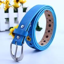 Fashion Children PU Leather Belts Metal Buckle Kids Faux Leather Straps Waistband Belt Cute Hollow Out Butterfly Flowers Belt недорого