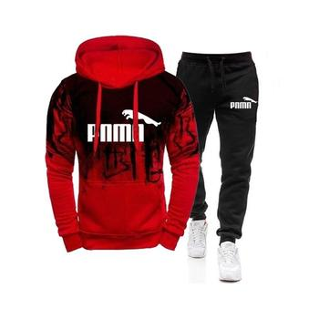 Casual Tracksuit Men 2 Pieces Sets Hooded Sweatshirts Spring Men's Clothes Pullover Hoodies Pants Suit Ropa Hombre Plus Size 1