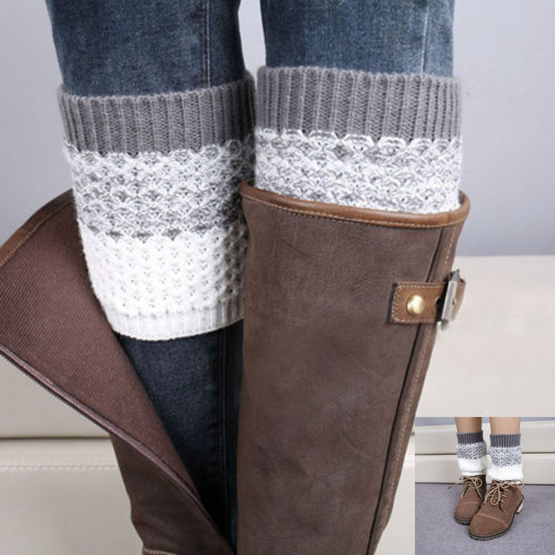 1Pair Women Girl Crochet Knitted Boot Cuffs Toppers Leg Knee Warmers Sleeves Boot Covers Winter Socks Gift