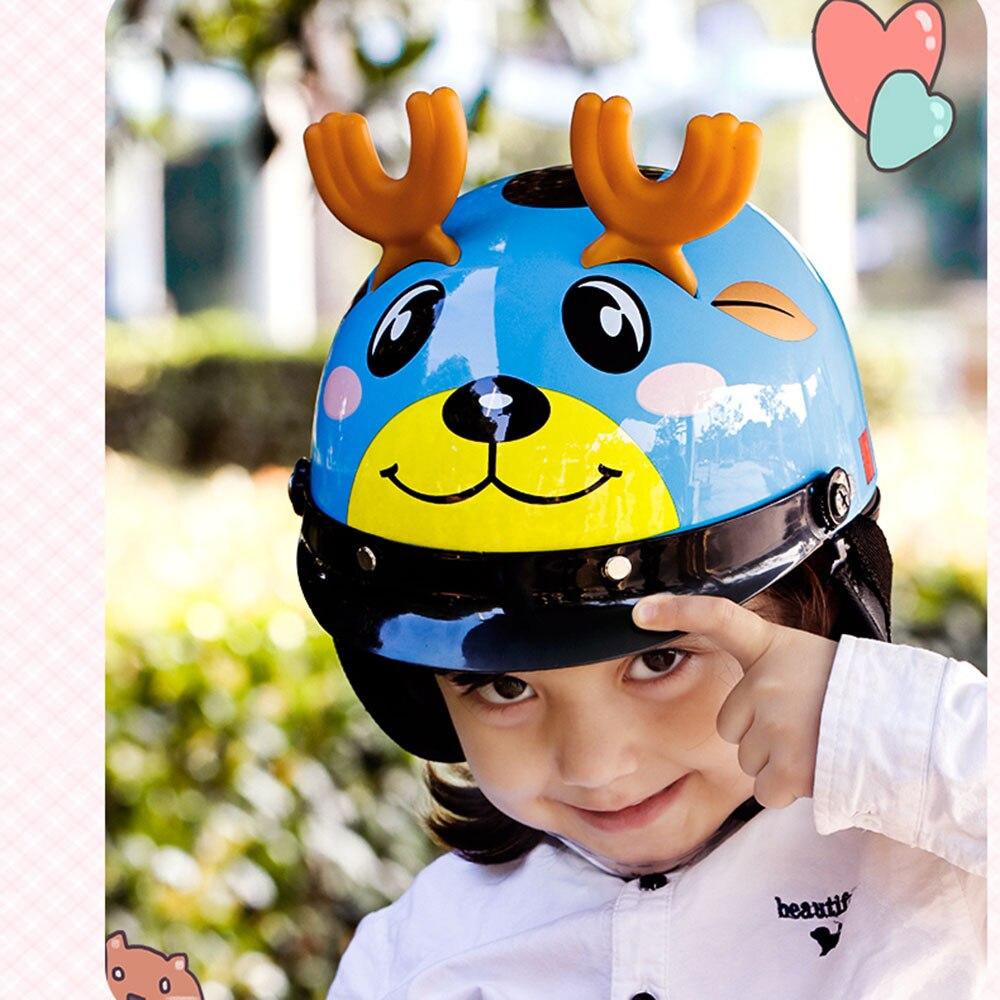 Motocicleta das crianças meio capacetes meninos meninas crianças quatro estações universal bonito chapéu de cabeça segurança da criança dos desenhos animados do bebê bicicleta capacete