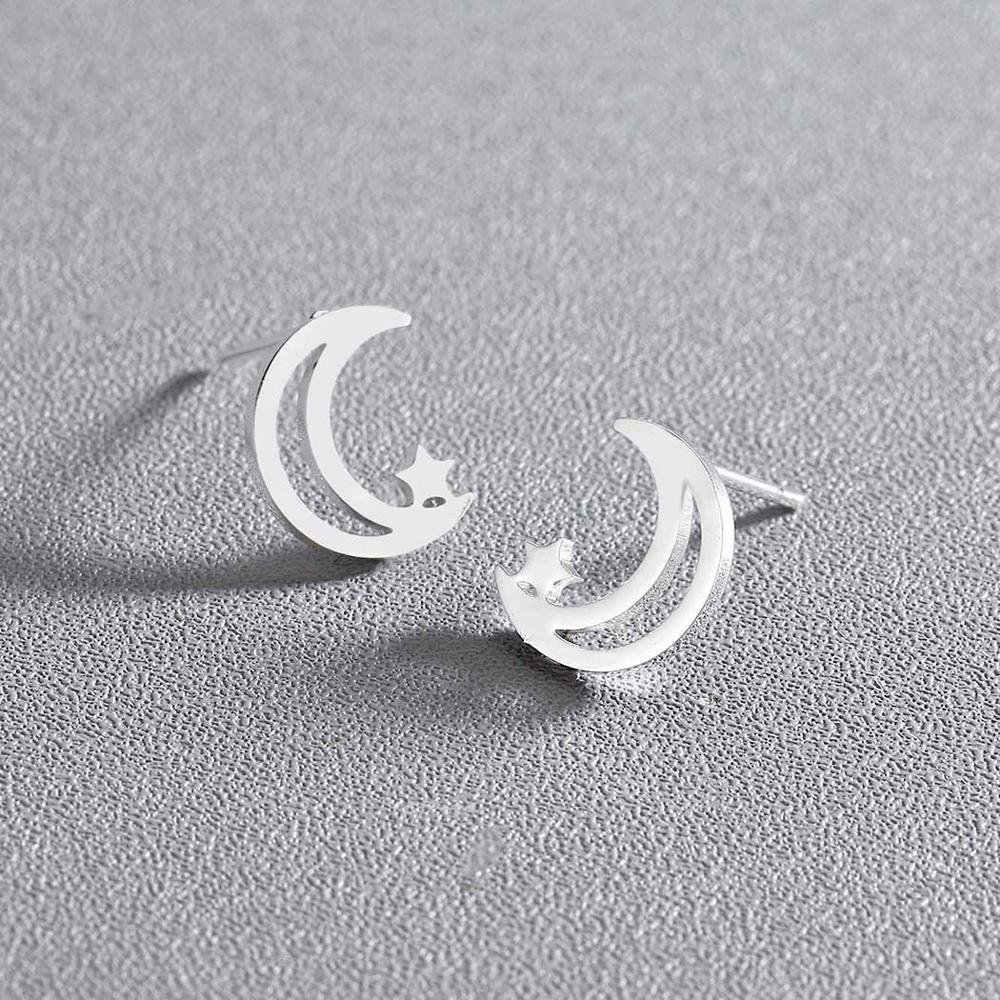 Chandler Moon Star Earring Hollow Out Moon Crecent ear studs Fashion Mini Female 2019 Party Jewelry Girlfriend Gifts