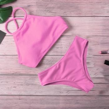 Ribbed Halter Top Biquini Bikini Set 2