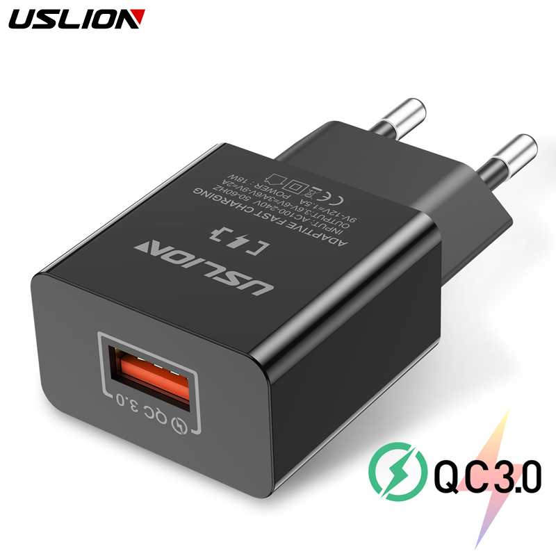USLION 18W Quick Charge 3.0 Fast Mobile Phone Charger EU Plug Wall USB Charger Adapter for iPhone X 7 XR Samsung Xiaomi Huawei(China)