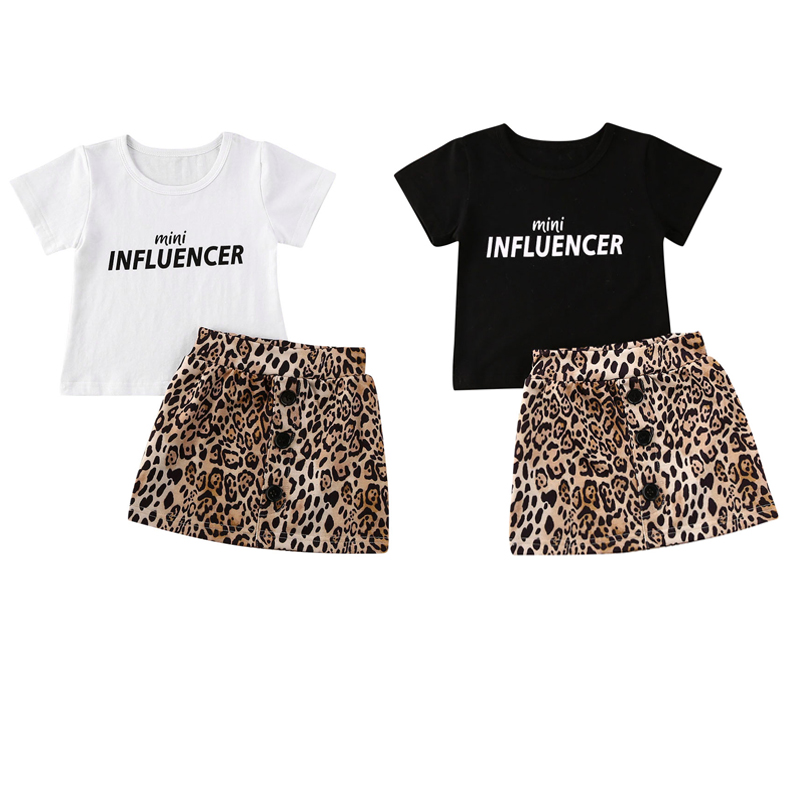 1-6Years Mini INFLUENCER Printed T-Shirt Tops+ Mini Leopard Skirts 2pcs Set For Toddler Kids Baby Girls Summer Clothes