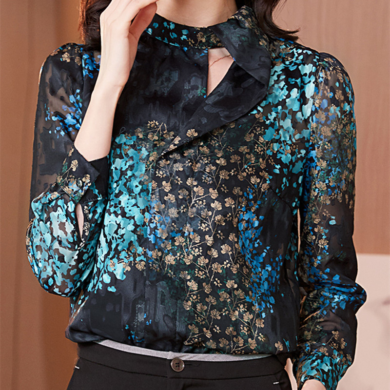 Korean Chiffon Women Shirts Office Lady Print Shirt Plus Size Elegant Woman Long-sleeve Blouses Shirt Womens Tops And Blouses