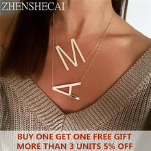 2019 New minimalist gold Color 26 AZ letter necklaces for women punk long large pendant necklace jewelry wholesale