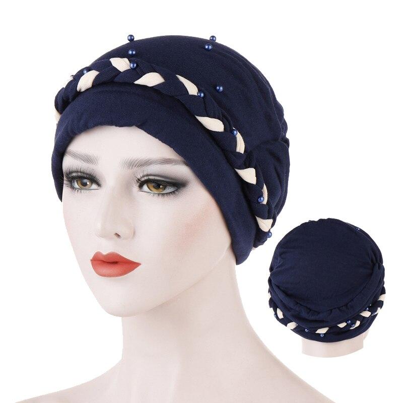 Two-color Bead Turban Caps Jersey Inner Hijab Bonnet Indian Wrap Head Hijabs Underscarf Cap Femme Musulman Muslim Headdress