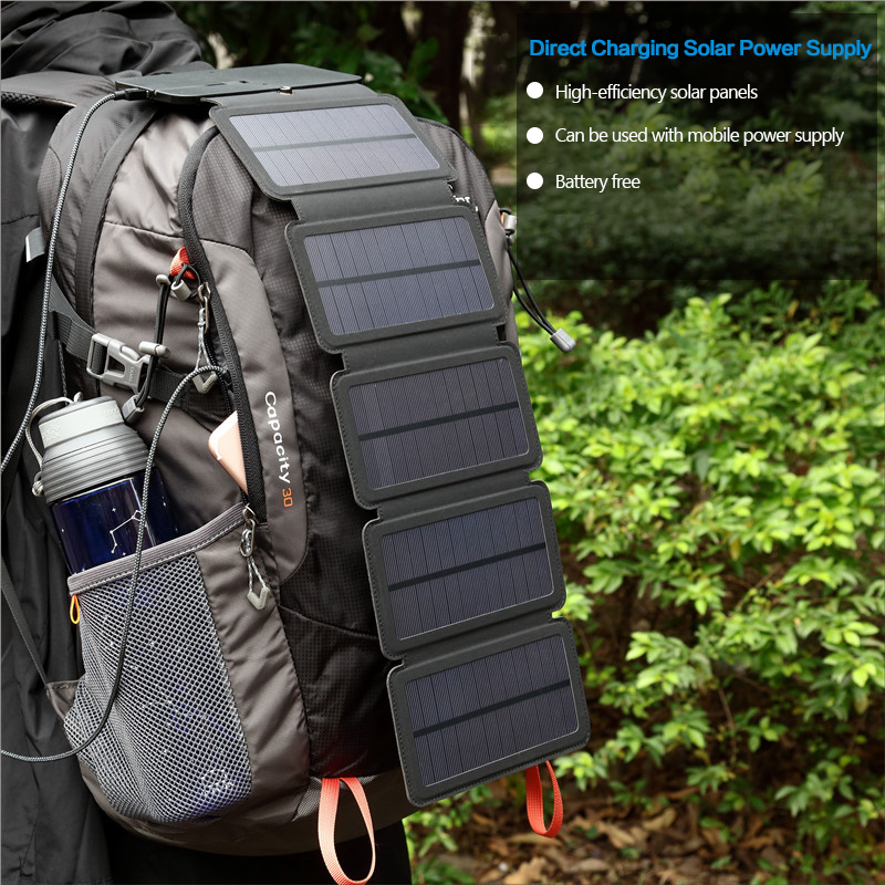 10W Solar Cells Charger Folding Foldable Waterproof Solar Charger 5V 2A Fast Charge Portable Solar Panel Charger for Smartphones image