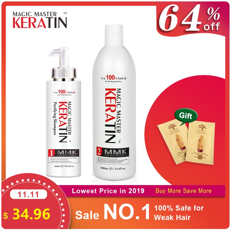 Without Formaldehyde 1000ml Magic Master Keratin Hair Repair Treatment Care +300ml Purifying Shampoo Get Free Gifts