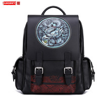 2020 New Men Backpack College Large School Bags Cowhide Leather Carved Dragon Tiger Head Travel Genuine Leather Cow Leather