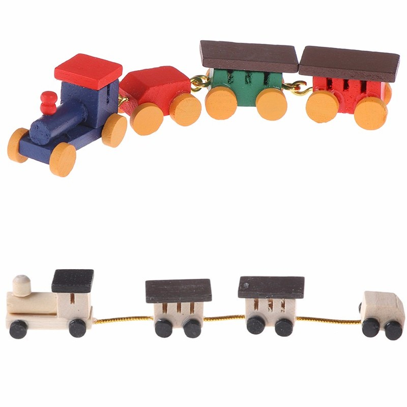 Cute Painted Wooden Train Set Locomotive Compartment Carriages Toy 1:12 Dollhouse Play Doll House Decor Active Toys Miniature