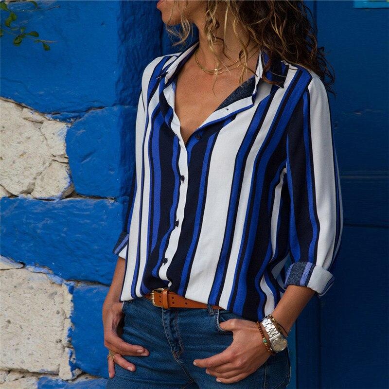 Chiffon Blouse Women Long Sleeve Striped Shirt Turn Down Collar Office Shirt Casual Tops Blusas Femininas Chemise Plus Size