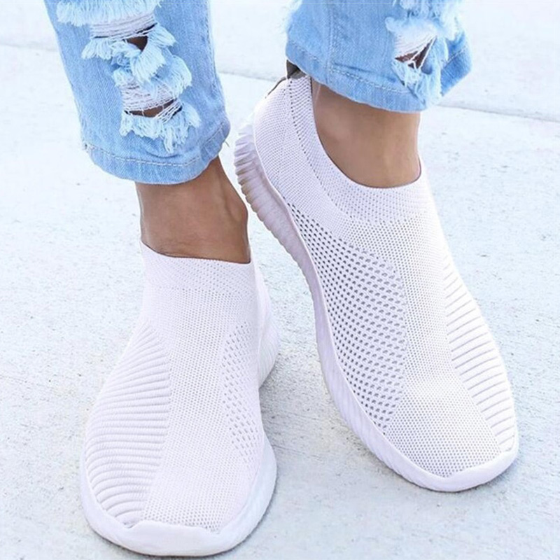 Summer Flat White Shoe Woman Sneaker Brand Design Sneakers Ladies Socks Mesh  Shoes Trainers Female Chaussures Basket Femme 2020