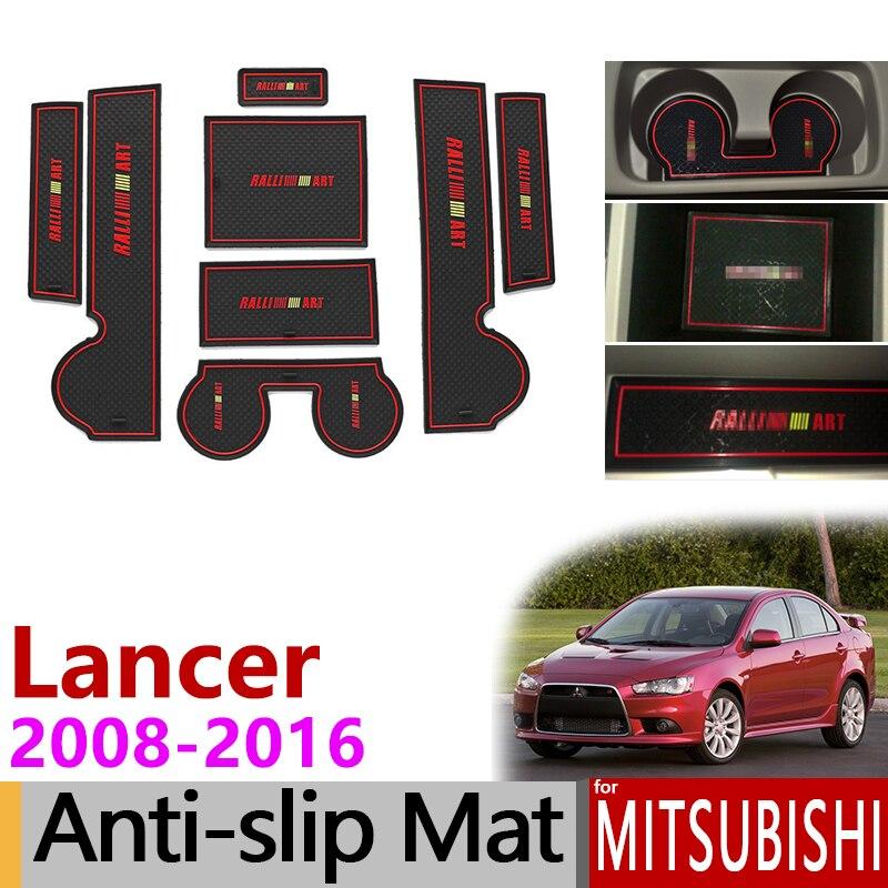 Anti-Slip Gate Slot Mat Rubber Cup Coaster For Mitsubishi Lancer 2008 - 2016 Ralliart EVO X Galant Fortis EX Accessories Sticker