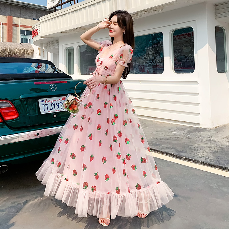 Sweet Strawberry Sequined Embroidery Cascading Ruffle Maxi Dress Women Summer V-neck Puff Sleeve Bow Pink Tulle Mesh Long Dress(China)