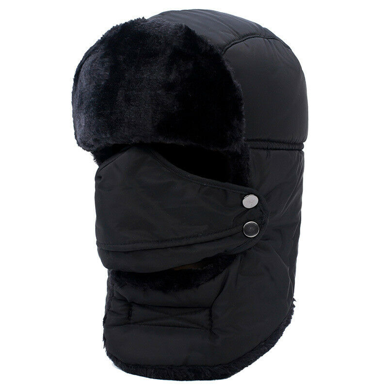 New 1PC Unisex Black Faux Fur Russian Ushanka Hat with Ear Flap Winter Warm Fluffy Hat for Men Women Ourdoor Head-Cover Caps Boy