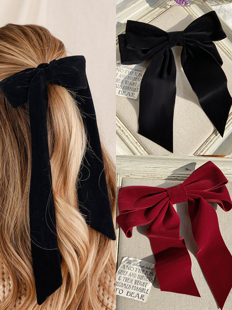 17KM Vintage Black Big Large Velvet Bow Hair Clip For Women Girls Wedding Long Ribbon