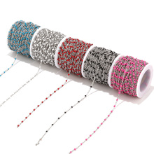 2mm Width 2M Stainless Steel Enamel Blue/Black/White/Red/Pink Link Cable Chains for DIY Necklace Jewelry Making Findings