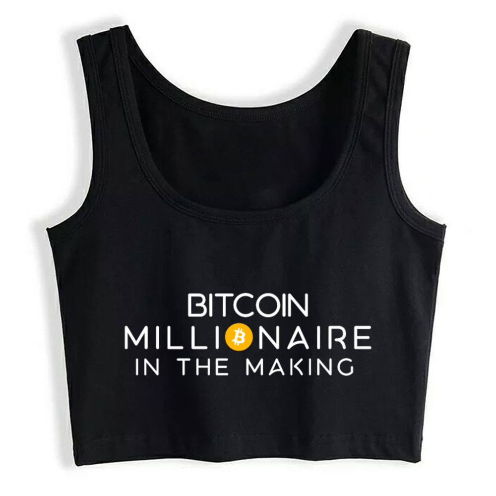 Crop Top Female Bitcoin Millionaire Funny Crypto Cryptocurrencies Summer White Sleeveless Tops Women 1