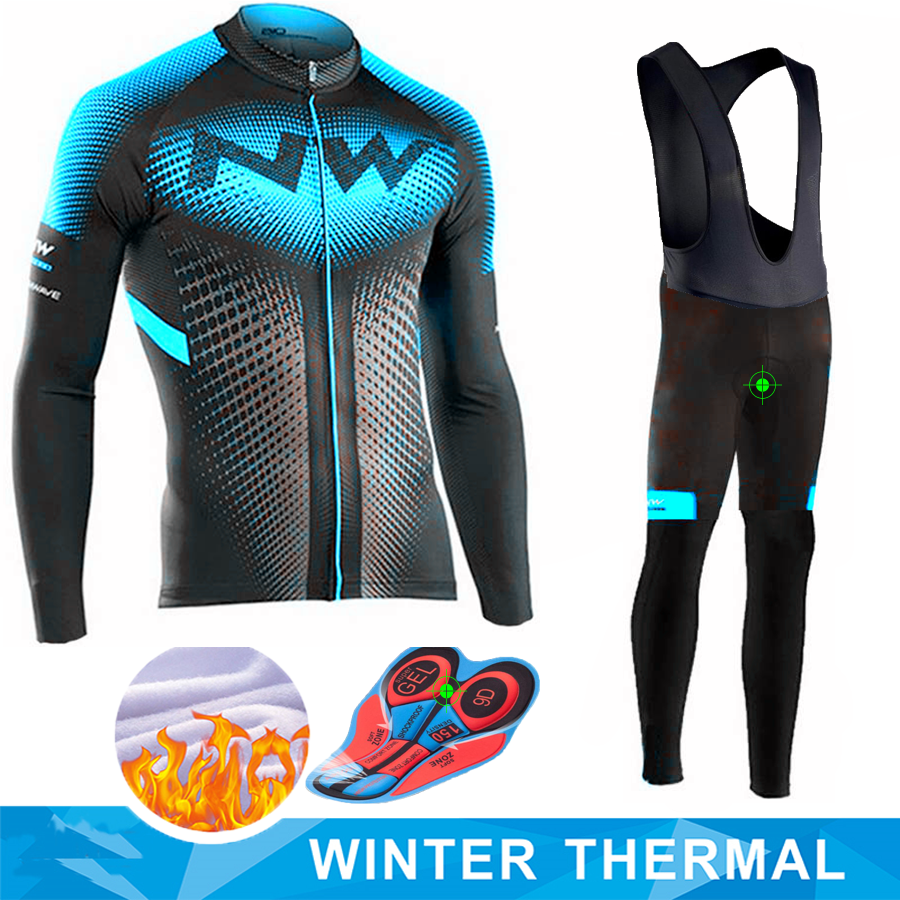 Northwave 2019 Winter thermal fleece Set Cycling Clothes NW men's Jersey suit Sport riding bike MTB clothing Bib Pants Warm sets