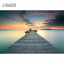 Laeacco закат Птицы деревянная эстакада озеро пейзаж фото фон