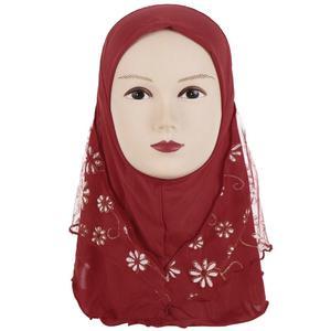 Image 2 - Kinder Kinder Moslemisches Kleine Mädchen Hijab Mit Spitze Blume Muster Islamischen Schal Schals Stretch 56cm 7 11 Jahre alt