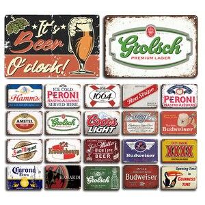 Beer Metal Plaque Signs Vintage Peroni Bacardi Metal Poster Decorative Sign Retro Bar Pub Decor Metal Plates Home Wall Decor